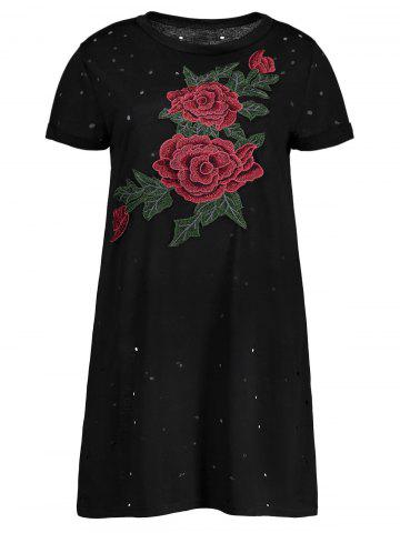 Cheap Distressed Floral Embroidered Mini T-shirt Dress BLACK S