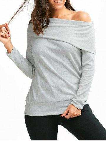 Off The Shoulder Multiway T-Shirt - Gray - M