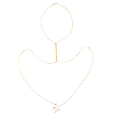 Store Adjustable Sequin Alloy Body Chain - GOLDEN  Mobile