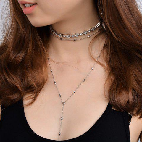 Bead Rhinestone Alloy Layered Necklaces - Silver