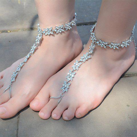 Sale 1PC Rhinestone Faux Pearl Chain Slave Anklet - SILVER  Mobile