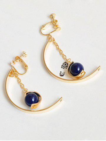 Metal Half Circle Chain Bead Earrings - Golden - One-size