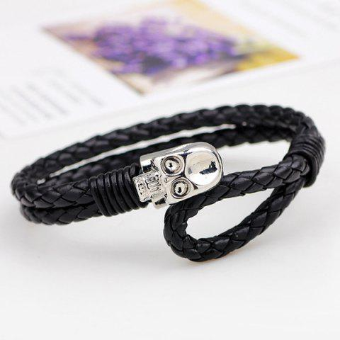 Hot Punk Skull Faux Leather Braided Bracelet - SILVER  Mobile