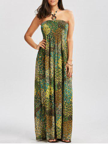 Affordable Halter Printed Shirred Dress with Accessory Design COLORMIX L