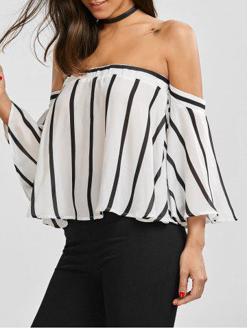 Discount Off The Shoulder Smocked Striped Blouse WHITE/BLACK S
