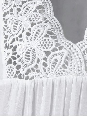 Discount Lace Panel Cutwork Smock Blouse - 2XL WHITE Mobile