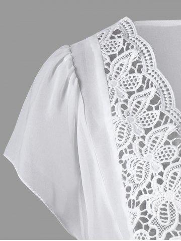 Chic Lace Panel Cutwork Smock Blouse - 2XL WHITE Mobile