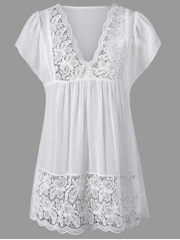 Cheap Lace Panel Cutwork Smock Blouse - 2XL WHITE Mobile