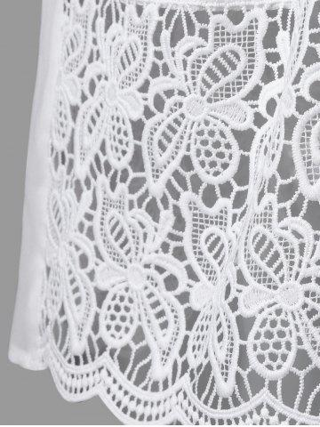 Affordable Lace Panel Cutwork Smock Blouse - 2XL WHITE Mobile