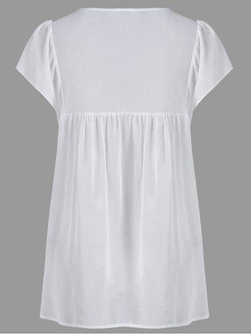 Outfit Lace Panel Cutwork Smock Blouse - 2XL WHITE Mobile