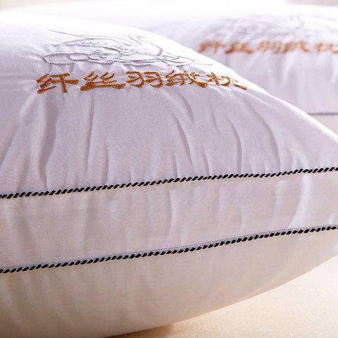 Affordable VIP Life Soft Close Skin Feather Fabric Pillow - WHITE  Mobile