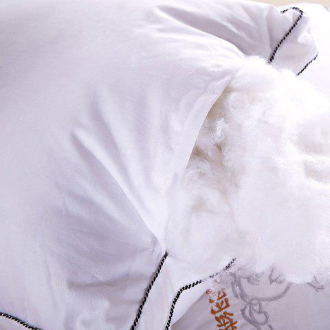Trendy VIP Life Soft Close Skin Feather Fabric Pillow - WHITE  Mobile