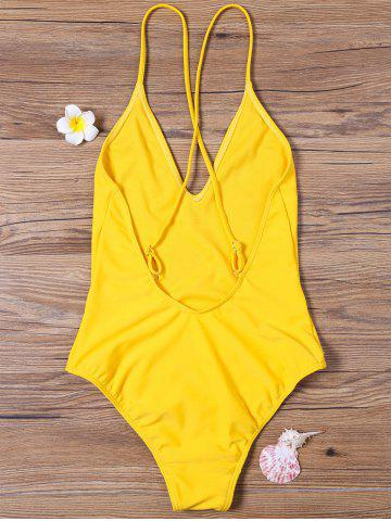 Chic High Cut V Neck One Piece Swimsuit - M YELLOW Mobile