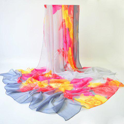 Gossamer Flowers Printing Multicolour Shawl Wrap Scarf - Gray