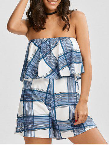Shops Flounce Plaid Tube Romper