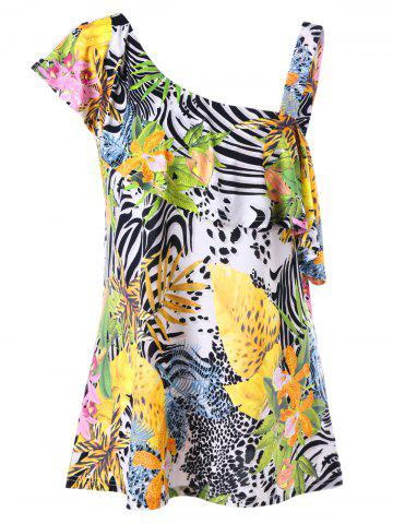 Latest Tropical Ruffle Plus Size One Shoulder Top