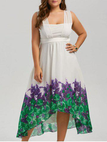 Best Plus Size Beach Printed Chiffon Long Flowy Dress WHITE 5XL