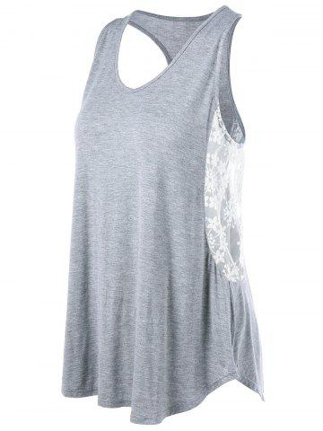Cheap Voile Insert Racerback Swing Tank Top GRAY M