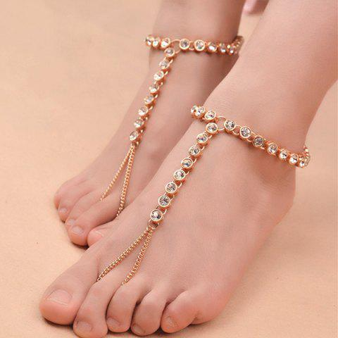 New 1PC Rhinestone Slave Chain Anklet - GOLDEN  Mobile