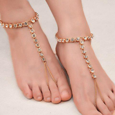 Affordable 1PC Rhinestone Slave Chain Anklet - GOLDEN  Mobile