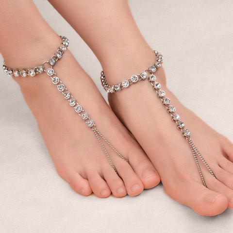 New 1PC Rhinestone Slave Chain Anklet - SILVER  Mobile