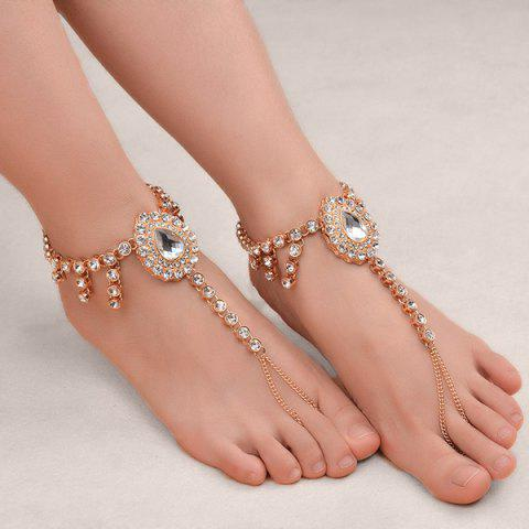 Trendy 1PC Faux Gem Rhinestoned Teardrop Slave Anklet