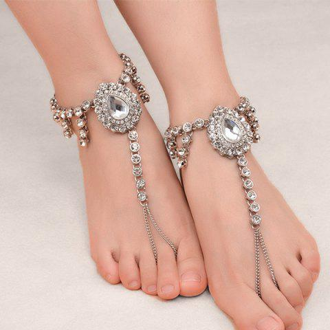 1PC Faux Gem Rhinestoned Teardrop Slave Anklet