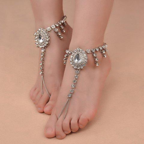 Outfit 1PC Faux Gem Rhinestoned Teardrop Slave Anklet - SILVER  Mobile