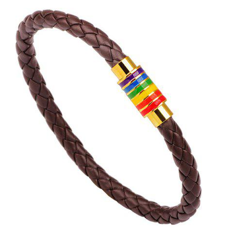 Artificial Leather Rainbow Braid Rope Bracelet - Gold Brown