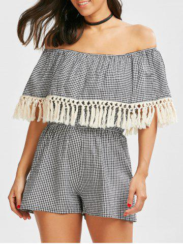 Cheap Off The Shoulder Gingham Fringed Romper CHECKED S