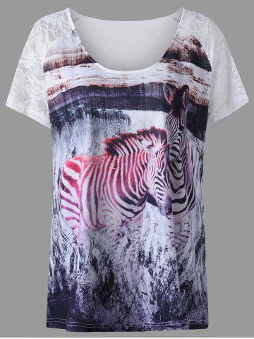 Cheap Plus Size Lace Insert Zebra Pattern T-shirt