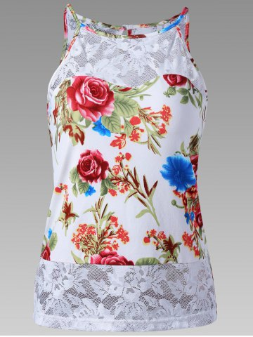 Store Sheer Lace Trim Floral Tank Top WHITE 2XL
