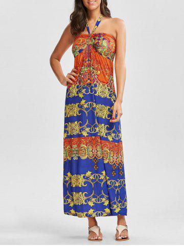 Best Aztec Print Halter Boho Maxi Backless Dress - ONE SIZE COLORMIX Mobile