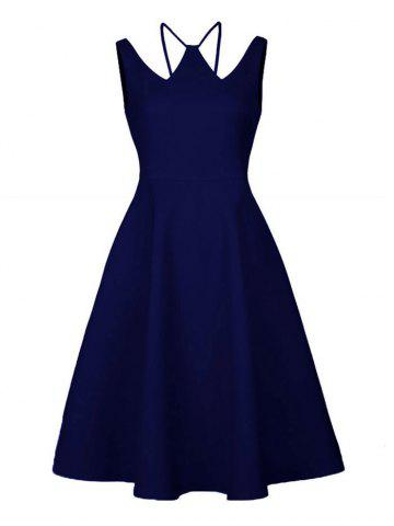 Vintage Strappy A Line Cocktail Dress - Deep Blue - S