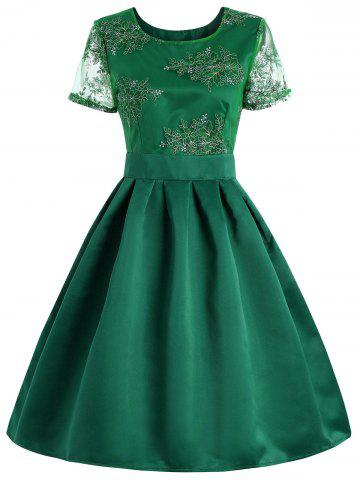 Retro Style Cut Out Floral Embroidered Dress - Green - M