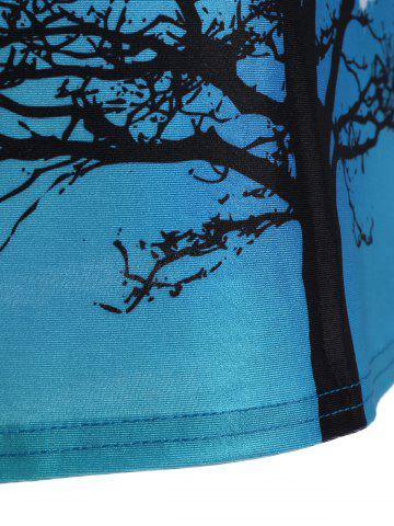 Latest Tree Print Ombre Racerback Tank Top - ONE SIZE BLUE VIOLET Mobile