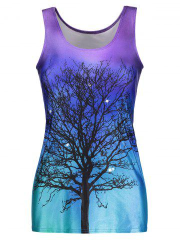 Buy Tree Print Ombre Racerback Tank Top - ONE SIZE BLUE VIOLET Mobile