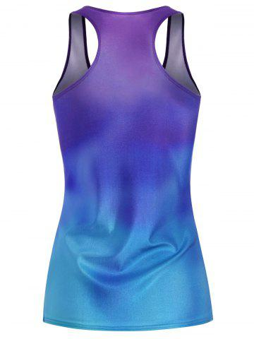 Outfit Tree Print Ombre Racerback Tank Top - ONE SIZE BLUE VIOLET Mobile