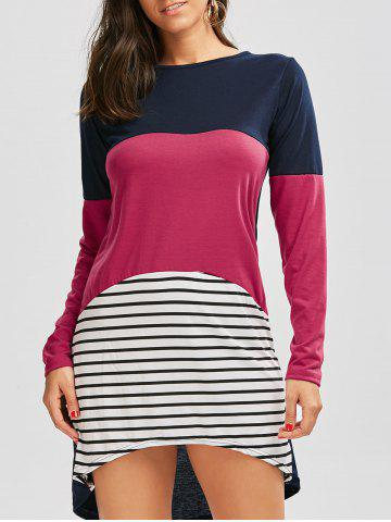 Discount Long Sleeve Color Block Striped Casual Tee Dress - L COLORMIX Mobile