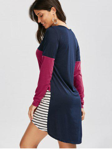 Best Long Sleeve Color Block Striped Casual Tee Dress - L COLORMIX Mobile