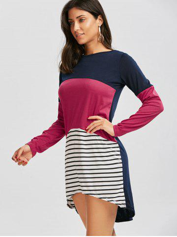 Hot Long Sleeve Color Block Striped Casual Tee Dress - L COLORMIX Mobile