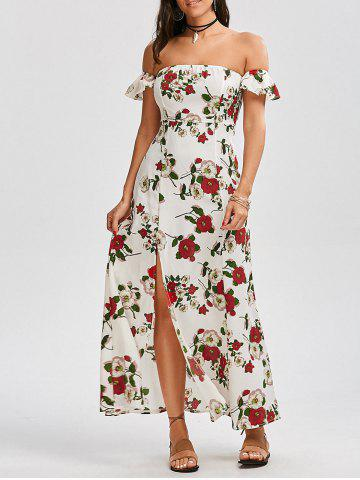 Outfit High Split Floral Off The Shoulder Maxi Dress WHITE S