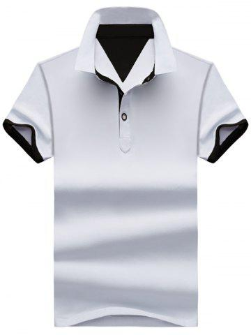 Two Tone Half Buttoned Polos - White And Black - Xl