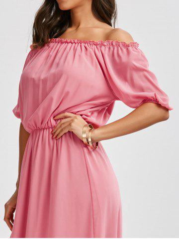 Shop High Waist Chiffon Off The Shoulder Maxi Dress - S PINK Mobile