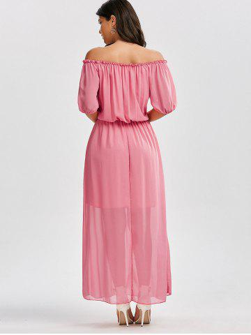 Store High Waist Chiffon Off The Shoulder Maxi Dress - S PINK Mobile