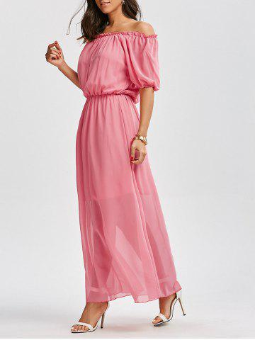Shops High Waist Chiffon Off The Shoulder Maxi Dress
