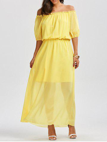 Fancy High Waist Chiffon Off The Shoulder Maxi Dress - L YELLOW Mobile
