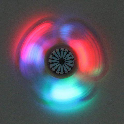 Mandala Patterned Plastic Finger Fidget Spinner avec LED Lights Noir