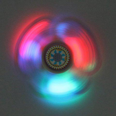 Outfit Mandala Patterned Plastic Finger Fidget Spinner with LED Lights YELLOW