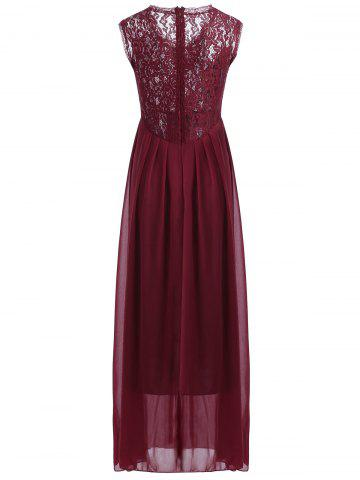 Fashion Maxi Lace Top Sleeveless Prom Formal Dress - S DEEP RED Mobile